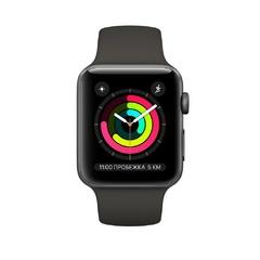 Apple Watch Series 3 GPS, корпус 42 мм, алюминий цвета серый космос, спортивный ремешок серого цвета