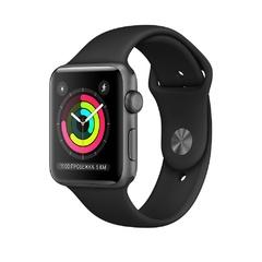 Apple Watch Series 3 GPS, корпус 42 мм, алюминий цвета серый космос, спортивный ремешок чёрного цвета