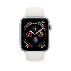 Apple Watch Series 4 GPS, 44 мм, алюминий серебристого цвета, спортивный ремешок белого цвета